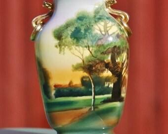 Nippon Morimura Vase Antique 1920s Gorgeous Hand Painted Landscape scene