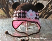 Crocheted  Hat with Bear Ears - Baby Boy - Baby Girl - Toddler - Winter Hat - Ear Flap Hat - Bear Hat - Brown Hat with Flower