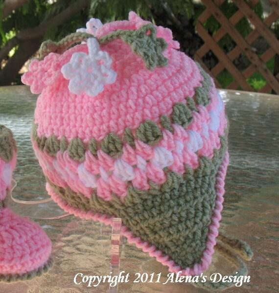 Crochet Pattern 003 - Crochet Hat Pattern Hat - Crochet Pattern for Blossom Hat - Girls Toddler Children Winter Ear Flap Hat Crochet Flowers