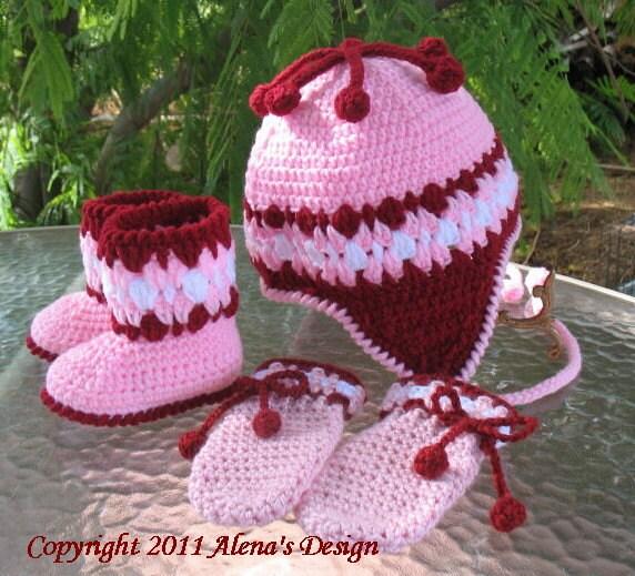Crochet PATTERN Set Cherries Hat Baby Booties and Baby