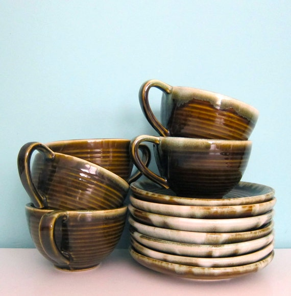 Green Drip Coffee Cups and Saucers Pfaltzgraff  Hull Pottery