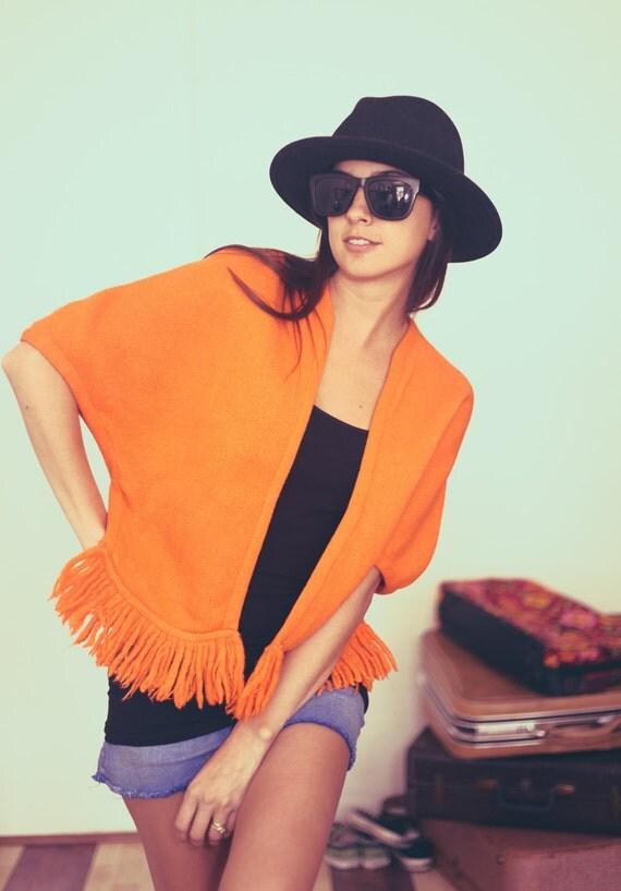 Bright Orange Cap Sleeve Fringe Hippie Knit Poncho Shawl - Orange Ya Wanna