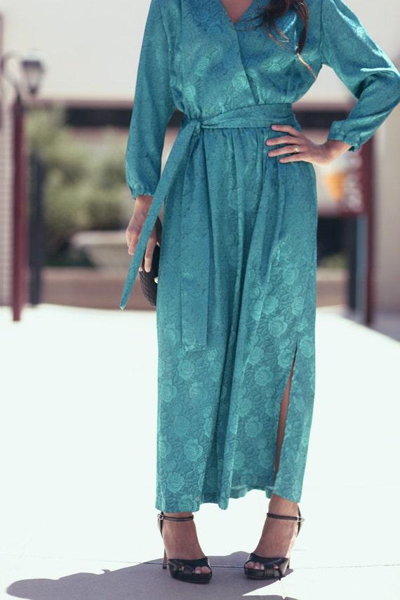 Teal Green Floral Vneck Long Maxi Tie Waist Strong Shoulder Long Sleeve Evening Cocktail Dress - Eva