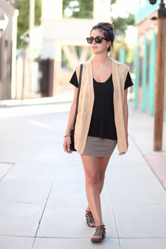 Camel Brown Knit Slouchy Sweater Vest - Carmella