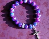 Cotton Candy - Marbleized Glass Beaded Stretch Bracelet with Crystal Encrusted Cross Charm