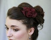 Burgundy/Plum Rosette Headband