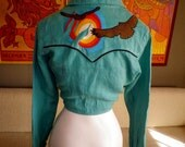 Vintage Deadstock 70s Hippie Western Embroidered Blouse Top Tie Front Sunset Sun Eagle Birds Sexy Small Medium