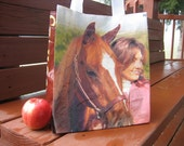 Lunch Tote - Recycled Horse Feed Bag - Small Purse, Closeable