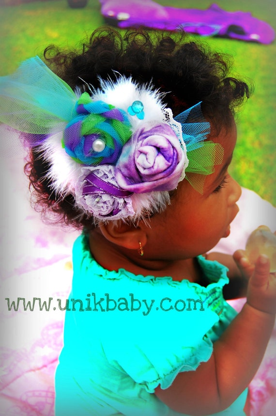 Shabby & Chic Unikbaby Couture Triple Rosette Feathered Hair Clip