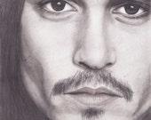 Black and White Portrait- Johnny Depp  - PRINT - 8.5x11
