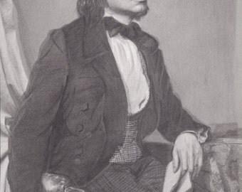 Black and white portrait - Franz Liszt - PRINT - 8.5x11