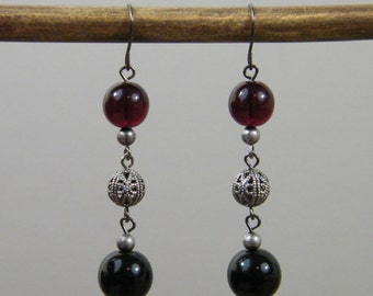 Elegant Darkness - Dark Blood Red Black Filigree Antique Silver Tone Dangle Earrings for the Vampire or Vampire Lover