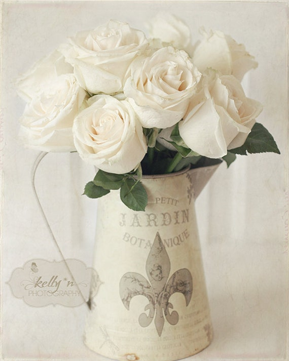 White Roses Photography-Rose and Pitcher Print, French Cottage Decor, Beige White Cream Neutral Art, Floral Still Life, Roses Photo