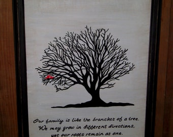 Family Tree Painting and Family Quote, Family Tree Wall Art, Tree of Life, Family Tree, Wedding Gift, Anniversary Gift