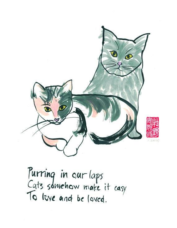 01-104. cat lovers print with haiku- 8x10