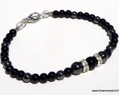 "BLACK ONYX and HEMATITE with Crystal Silver Rondelles 7"" Beaded Bracelet"