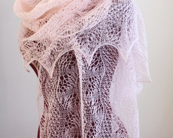 Knitted Lace Shawl, Dunes and Waves Pattern, PDF