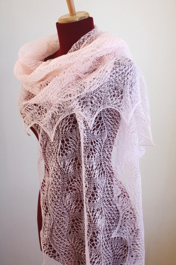 Knitted Lace Pattern : Knitted Lace Shawl Dunes and Waves Pattern PDF
