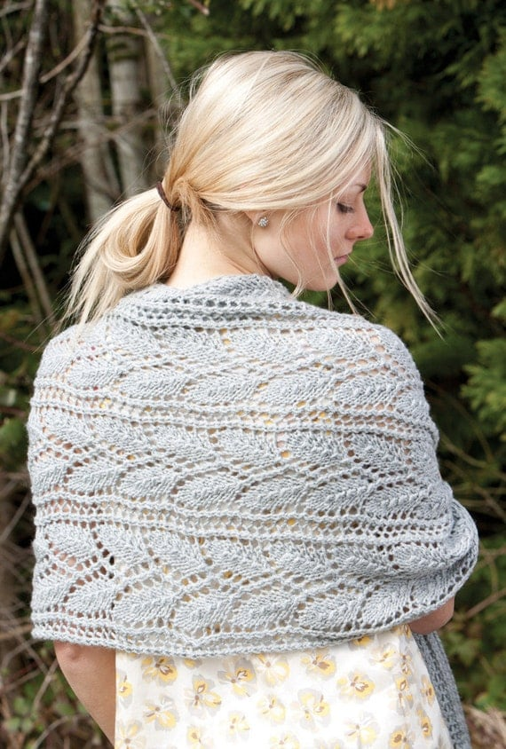 Knitted Wrap Scarf or Prayer Shawl pattern. PDF download.