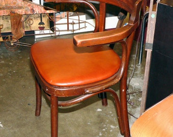 Pair of Thonet Bentwood Cafe Chairs with New leather seat covering