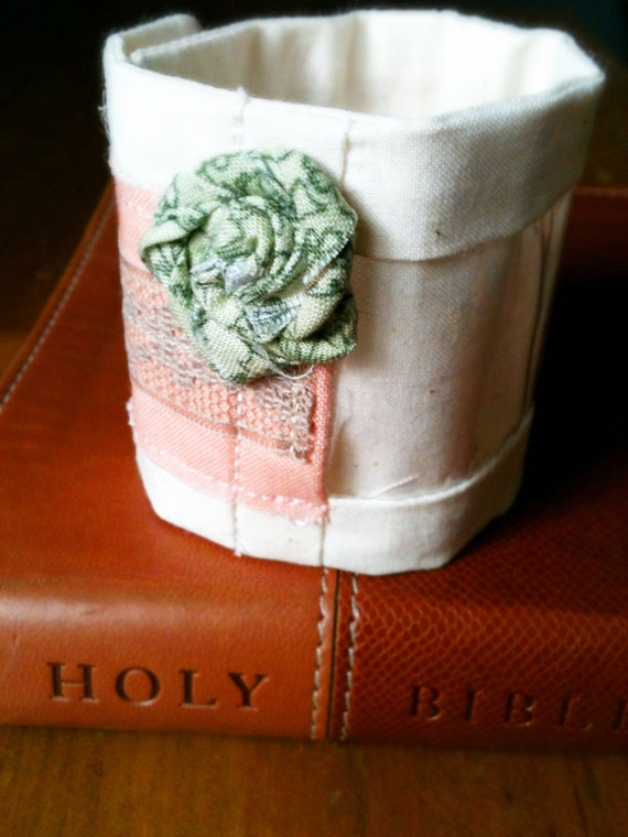 Interchangeable Scripture Cuff - Pink with Rosette