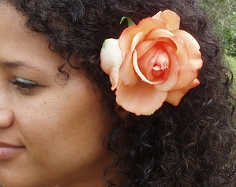 Orange Rose Hair Flower clip, realistic look and feel