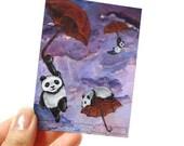 Cute Panda Print, ACEO Art Card, Red Umbrella Picture, Purple Sky, Animal Illustration, Childrens Room Decor, Whimsical Art