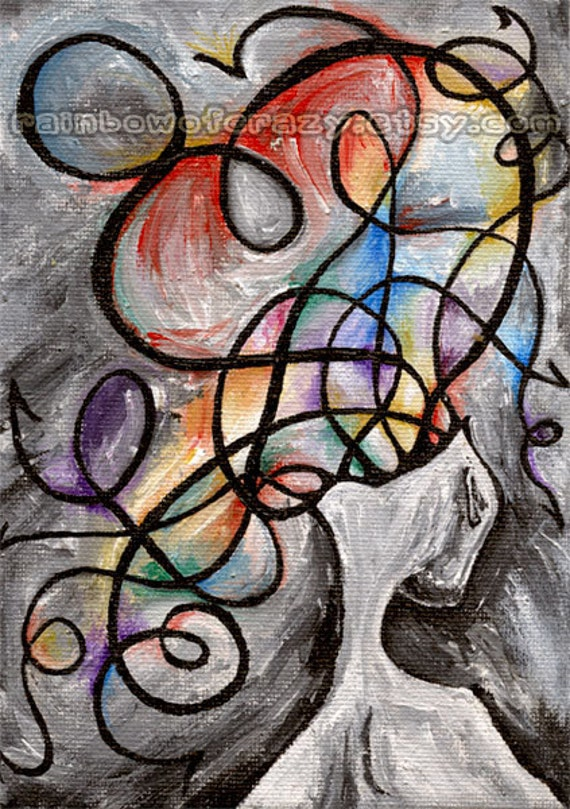 Fibromyalgia Art Print, 5x7 Abstract Artwork, Anxiety and Mental Health, Rainbow Surreal Wall Art