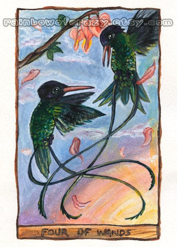 Items Similar To Tarot Card Art Print Four Of Wands
