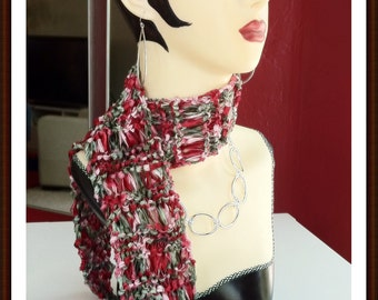 FESTIVE HOLIDAY RED hand-knitted scarf, delicate, feminine, versatile - Xmas, Valentine's Day, New Year's