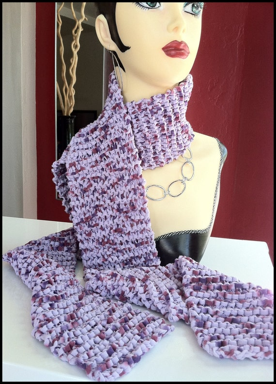 LILAC BLOSSOM Hand-knit Scarf - long and lovely, flirty and versatile -