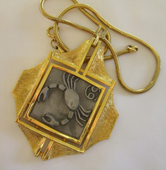 Vintage Razza Necklace Zodiac 1960s Jewelry Statement Piece