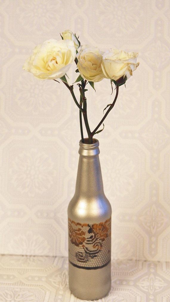 Vase Shabby Chic Lace Champane & Brown Bud Vase