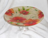 "Glass Cake Stand Pedestal GRACEFUL POPPIES  Orange Red Flowers Decoupage Cake Stand 10.5"" diam"