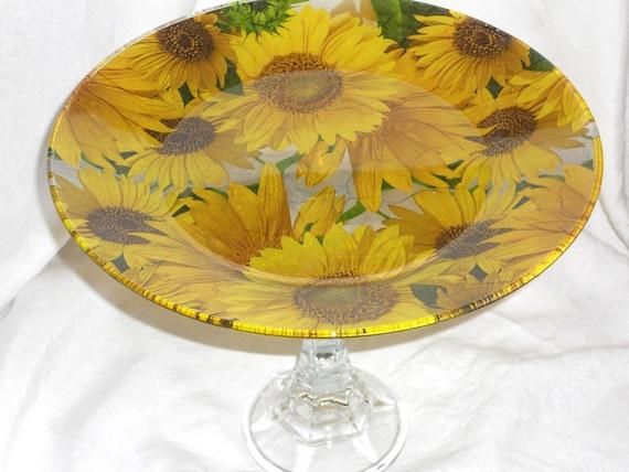 "Pedestal SUNFLOWER BURST Glass Cake Stand Cupcake Stand Dessert Pedestal Fruit Stand Sunflower Kitchen Decor Bright Yellow 10.5"" Diam"