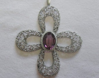 925 Sterling Silver and Amethyst Pendant