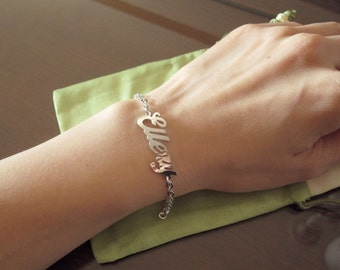 Personalized White Gold Name Bracelet