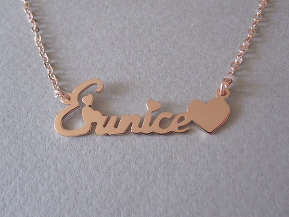 Personalized Rose Gold Name Necklace with Design B