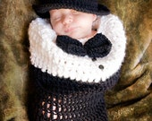 Baby Boy Hat - Baby Cocoon & Baby Hat - Baby's first Tuxedo with Top Hat  - Perfect for Weddings or the Holidays