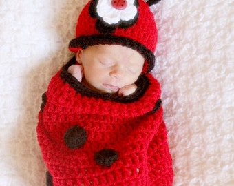 READY Baby Halloween Custome - Baby Girl Hat - Adorable Lady Bug Baby Cocoon and Hat with Flower Clip & Super Cute Lady Bug Button Accent