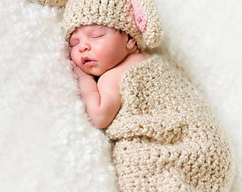 Baby Girl Hat - Newborn Baby Cocoon and Bunny Hat  with Boutique Flower Clip