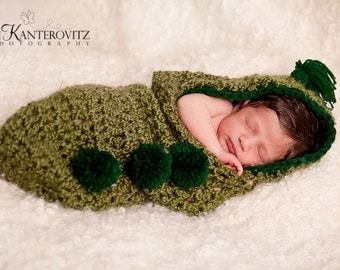 Peapod Newborn Baby Cocoon Hoodie with 3 Peas in a Pod (Pom Pom's) and Sprouts