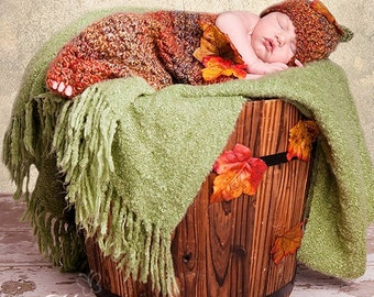READY Baby Hat - Fall Baby Cocoon & Baby Hat - Baby Halloween Hat  with Leaves - Amazing Colors