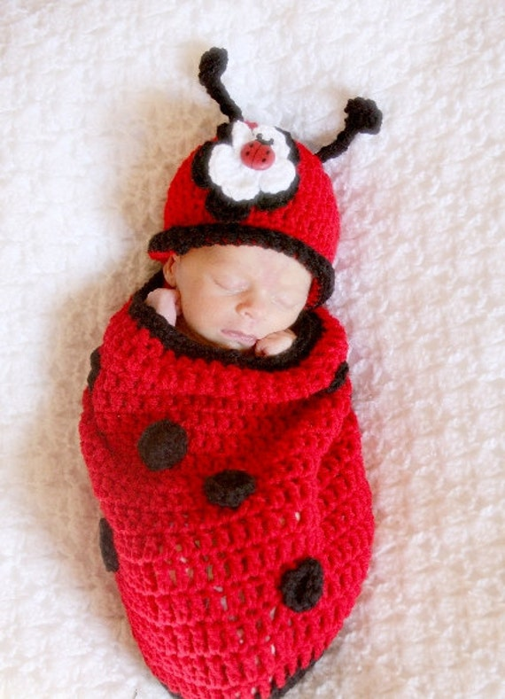 Lucky Lady Bug Baby Cocoon and Hat with Flower Clip