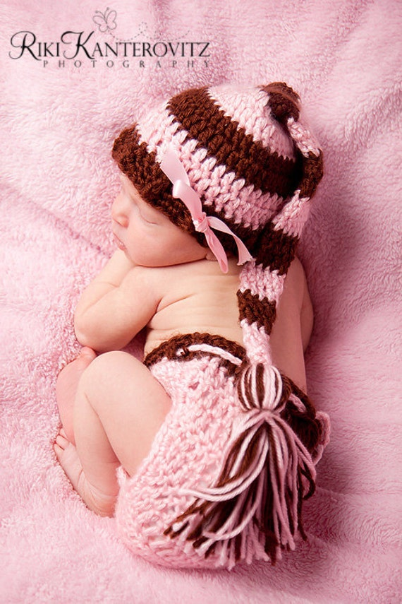 Gorgeous Baby Girl Hat - Baby Hat & Diaper Cover Pink and Chocolate Striped Stocking Cap with Tassel  - Custom Colors Available