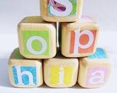 Baby Blocks, Personalized Baby Shower Decor, Wood Blocks, Nursery TOY, Pretty Pastels, Flower Girl gift, Baptism