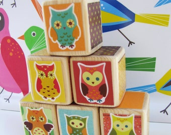 OWL Nursery Decor. Baby Shower Decoration. Personalization Available- Baby Blocks. Woodland Owls