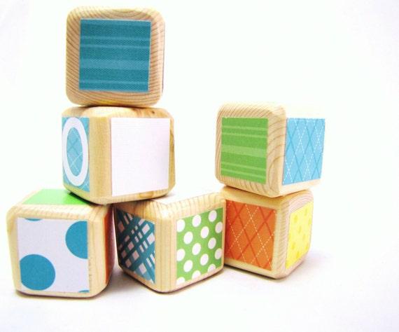 Baby Blocks. Baby Shower Decor Lime Green Aqua Orange Yellow  Wood toy. Toddler.  Personalized Unique Newborn gift