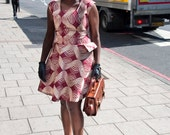Beige and burgundy wave African print dress - ON SALE