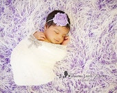 Baby Headband Shabby Rosette Flower Headband Newborn Photo Prop Many Colors Available